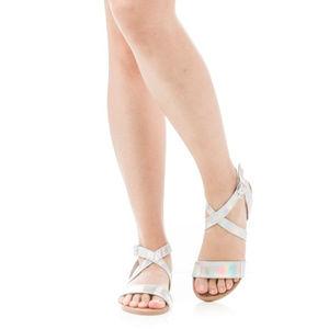 Shoes - Iridescent Criss Cross Flat Sandals